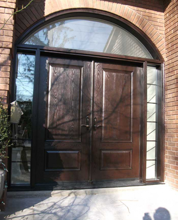 Executive Doors-Front Entry Doors-Fiberglass Doors-Front Woodgrain Doors with Iron Art and 2 side lights and Matching Arch Transom Installed in Scarborough