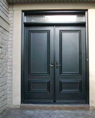 Executive Doors-Front Entry Doors-Fiberglass Doors-Smooth Exterior Solid Fiberglass Double Doors with Transom installed in Thornhill