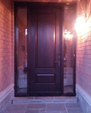 Executive Fiberglass Door-2 panel fiberglass door with frosted glass backing and 2 side lites installed in Thornhill