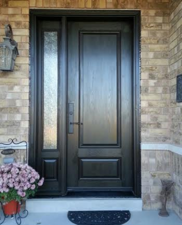 Executive Fiberglass Door-2 panel fiberglass door with frosted glass backing and side lite installed in Richmond Hill