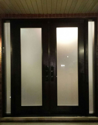 Exterior Double Doors-Wood Grain Doors-Fiberglass Double Doors with Frosted Glass and 2 Side Lites Installed by Windows and Doors Toronto