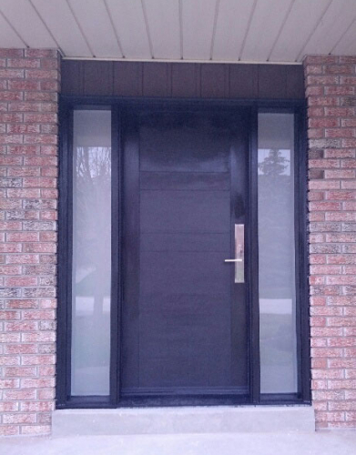 Fiberglass 4 Panel Front Door with 2 Frosted Side Lites and Multipoint Locks installed in Thornhill-Ontario windows and doors toronto