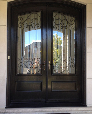 Arched Fiberglass Doors-Front Entry Doors-Fiberglass-Arch-Doors-with-Wrought-Iron-Design-glass-designed-installed in Richmond Hill