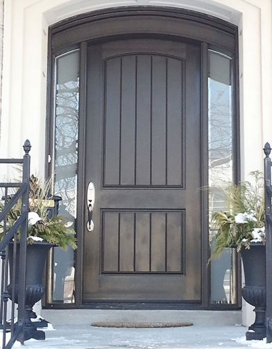 Arched Fiberglass Door with 2 Side Lites Installed in Toronto