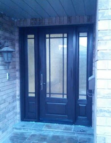 Fiberglass Door-2 panel fiberglass door with frosted glass backing and 2 side lites installed in Oakville