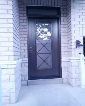 Fiberglass Front Door-Fiberglass Excaliber Design wth frosted glass installed in Thornhill by windowsanddoorstoronto.ca