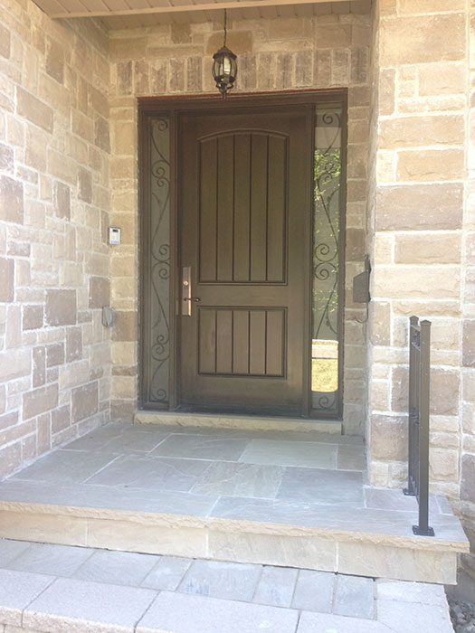 Fiberglass Rustic 2 Panel Door with 2 frosted Side Lites installe in Etobicoke by Windows and doors Toronto