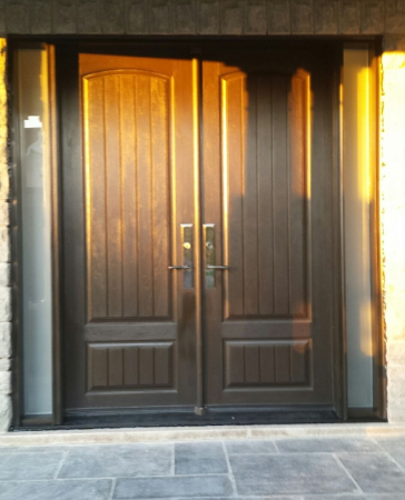 Fiberglass Rustic Double Doors with 2 frosted side lites installed in Richmond Hill