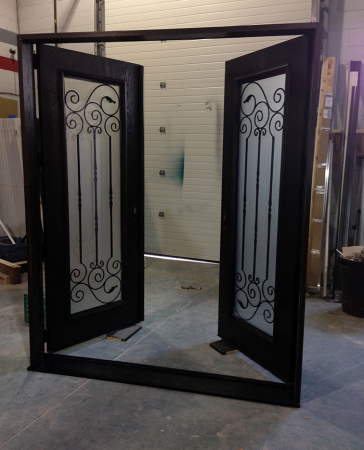 Fiberglass Doors-Woodgrain Exterior Doors-Fiberglass Woodgrain Doors with Wrought Iron Design & Frosted Glass Manufactured by Widows and Doors Toronto
