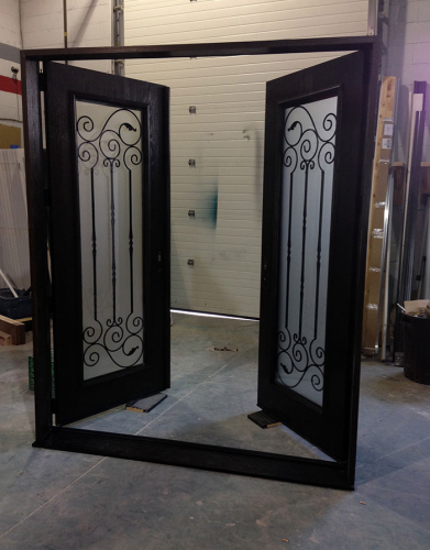 Fiberglass Doors-Wrought Iron Doors-Fiberglass Woodgrain Doors with Wrought Iron Design & Frosted Glass Manufactured by windowsanddoorstoronto.ca