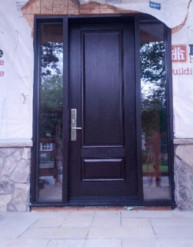 Fiberglass Woodgrain Executive Door with 2 Clear Side lites and Multi Points Lock installed Richmond Hill Installed by Windows and Doors Toronto