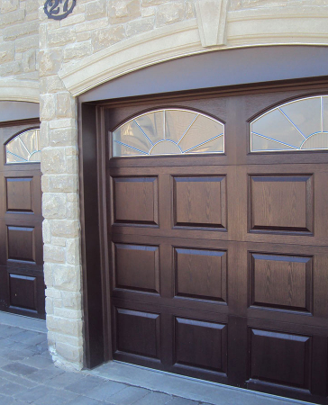 Windows and Doors Toronto-Fiberglass Woodgrain Garage Doors with Windows installation by Windows and Doors Toronto in Richmond Hill