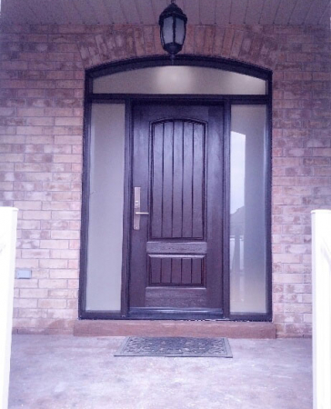 Fiberglass Woodgrain Rustic Front Door with 2 Frosted Side Lites and Arched Transom installed by Windows and Doors Toronto