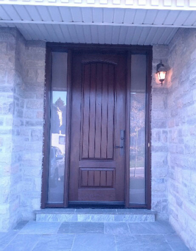Fiberglass Woodgrain Rustic Front Door with 2 Frosted Side Lites and Multipoint Locks installed by Windows and Doors Toronto