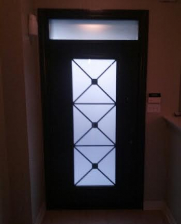 Fiberglass door-Fiberglass Excaliber Design wth frosted glass installed in Thornhill by windowsanddoorstoronto.ca