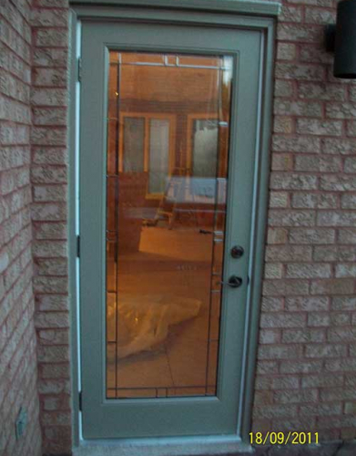 Windows and Doors Toronto-Smooth Fiberglass Doors-Flush Glazed Smooth Door installation by Windows and Doors Toronto