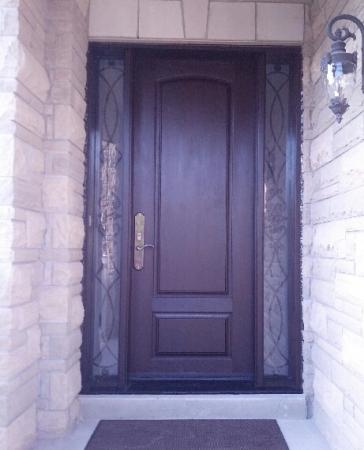 Windows and Doors Toronto-Custom Front Doors-Custom Fiberglass Doors-Front Entry Custom Door with Wrought Iron Side Lites installed in Wood Bridge by windowsanddoorstoronto.ca