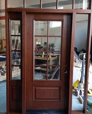 Windows and Doors Toronto-Custom Front Doors-Custom Fiberglass Doors-Front Entry Custom Rustic Mahageny Door with Custom DIviders-INSTALLED in sunderland cottage country by windowsanddoorstoronto.ca