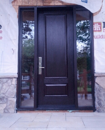 Windows and Doors Toronto-Custom Front Doors-Custom Fiberglass Doors-Front Single Fiberglass Executive Door with 2 Side Lites installed in New Construction Custom Home in Burlington by windowsanddoorstoronto.ca