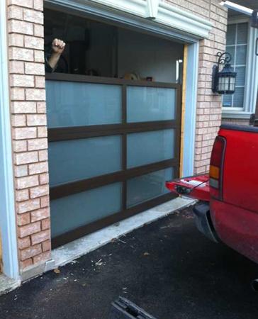 Windows and Doors Toronto-Glass-Design-During-installation-in-Aurora by 8 Foot Fiberglass Garage Door-Panel 9800 Horizontal installaed by Windows and Doors Toronto