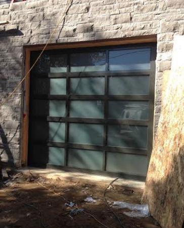 Modern Garage Doors-Aluminium Garage Door with Door Lites installed in Oakville