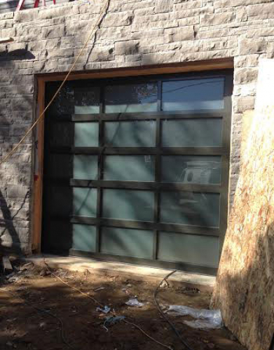 Modern Garage Doors-Aluminium Garage Door with Door Lites installed in Oakville