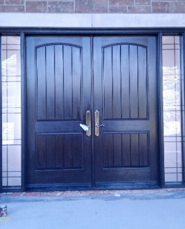 Windows and Doors Toronto-Custom Front Doors-Custom Fiberglass Doors-Oversized Rustic Front Entry Doors with 2 Side Lites installed in New Construction Custom Home in Klineburg by windowsanddoorstoronto.ca