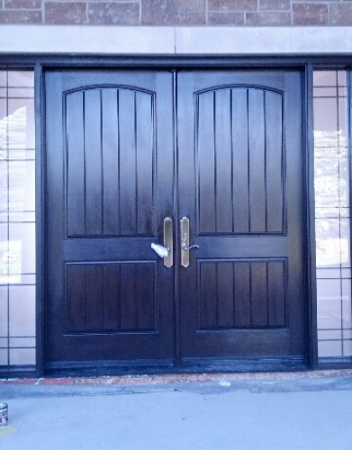 Windows and Doors Toronto-Rustic Doors-Fiberglass Rustic Doors-Oversized Rustic Front Entry Doors with 2 Side Lites installed in New Construction Custom Home in Klineburg by windowsanddoorstoronto.ca