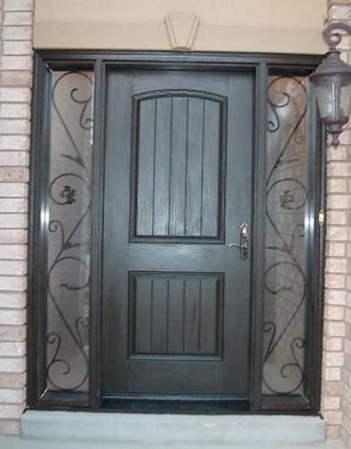 Windows and Dooors Toronto-Rustic Doors-Fiberglass Rustic Doors-Single-Single Fiberglass Solid Rustic Door With 2 Iron Art SIde Panel Installed by Windows and Doors Toronto in Woodbridge Ontario