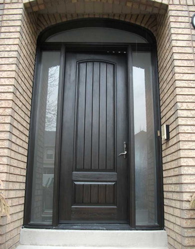 Windows and Dooors Toronto-Rustic Doors-Fiberglass Rustic Doors-Single-Single Fiberglass Solid Rustic Door With 2 Side Frosted Lights and Arch ?ransom Installed by Windows and Doors Toronto in Oakville