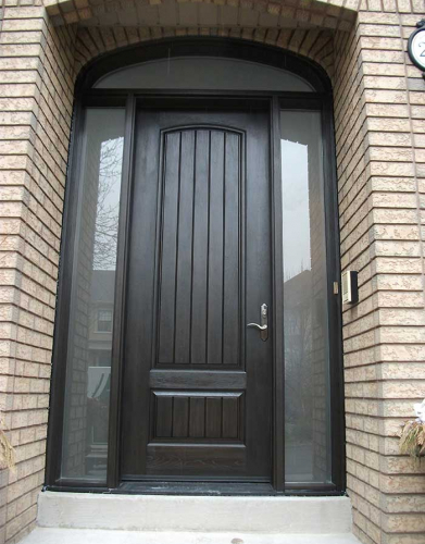 Rustic Doors-Fiberglass Rustic Doors-Single-Single  Solid Door With 2 Side Frosted Lites and Arch Transom Installed by Windows and Doors Toronto in Oakville