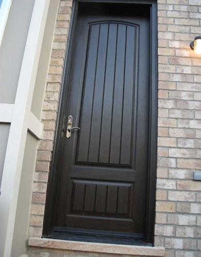 Windows and Dooors Toronto-Rustic Doors-Fiberglass Rustic Doors-Rustic Door Single Solid Fiberglass Back Door with  Installed by Windows and Doors Toronto in King City Ontario