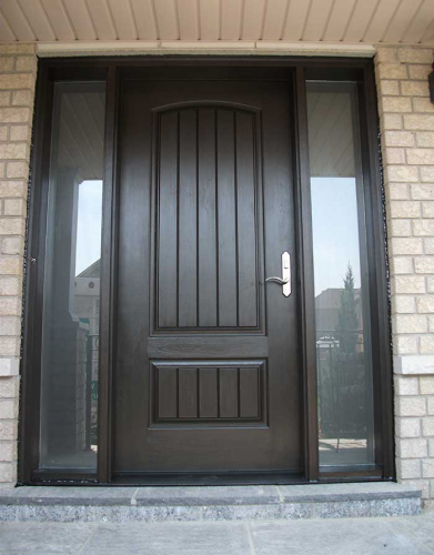 Windows and Dooors Toronto-Rustic Doors-Fiberglass Rustic Doors-Rustic Door Single Solid Fiberglass Door with 2 Frosted Side lights installed by Windows and Doors Toronto in Barrie