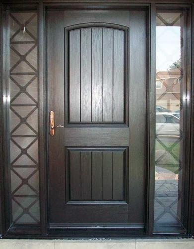 Windows and Dooors Toronto-Rustic Doors-Fiberglass Rustic Doors-Single Solid Fiberglass Door with  2 side lights and Iron Art installed  by Windows and Doors Toronto
