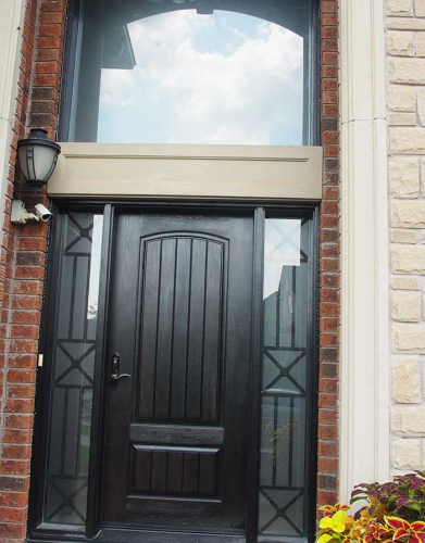 Windows and Dooors Toronto-Rustic Doors-Fiberglass Rustic Doors-Rustic Door Single Solid Fiberglass Front Door with 2 Iron Art Side Lites and Transom Installed by Windows and Doors Toronto in Markham Ontario