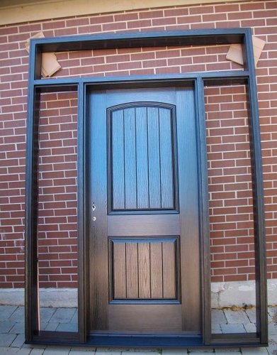 Rustic Doors-Fiberglass Rustic Doors-Single Solid Fiberglass Front Door with 2 Side Lites and Transom installed  by Windows and Doors Toronto