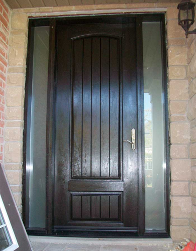 Windows and Dooors Toronto-Rustic Doors-Fiberglass Rustic Doors-Single Solid Fiberglass Front Door with 2 Side lites installed by Windows and Doors Toronto in Newmarket