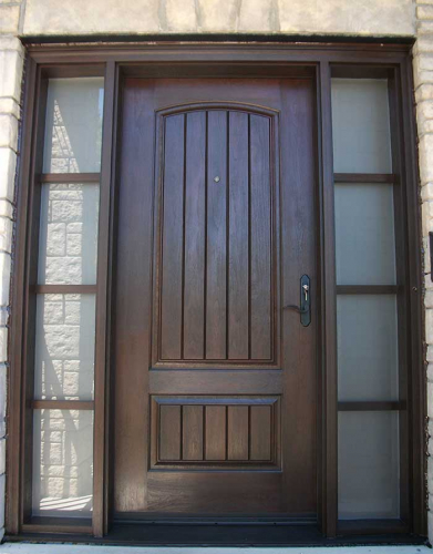 Windows and Dooors Toronto-Rustic Doors-Fiberglass Rustic Doors-Rustic Door Single Solid Fiberglass Woodgrain Door With and 2 side Lites Installed by Windows and Doors Toronto in Richmond hill