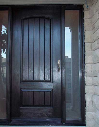 Windows and Dooors Toronto-Rustic Doors-Fiberglass Rustic Doors-Rustic Door Solid Door Woodgrain with 2 Frosted Side Lites Installed by  Windows and Doors Toronto in Thornhill