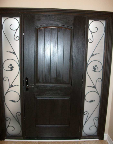 Windows and Dooors Toronto-Rustic Doors-Fiberglass Rustic Doors-Rustic Door Solid Rustic Door With 2 Iron Art Side Panel Installed by Windows and Doors Toronto in Woodbridge Ontario