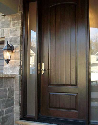 Windows and Dooors Toronto-Rustic Doors-Fiberglass Rustic Doors-Rustic Door Woodgrain Front Single Fiberglass  with 2 Frosted Side Lites Installed  by Windows and Doors Toronto in Oakville