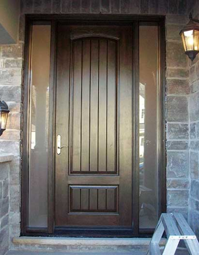 Windows and Dooors Toronto-Rustic Doors-Fiberglass Rustic Doors-Rustic Doors 8-Foot-Fiberglass Single–Solid Door-with-2-frosted-Side-Lites-Installed by Windows and Doors Toronto-in-Newmarket-Ontario