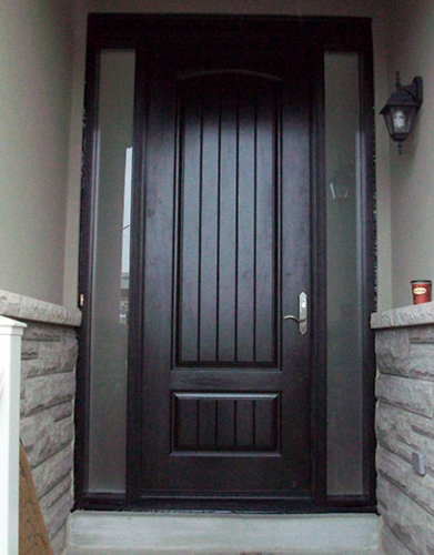 Windows and Dooors Toronto-Rustic Doors-Fiberglass Rustic Doors-Rustic Doors 8-Foot-Fiberglass Solid-Door-with-2-frosted-Side-Lites-Installed by Windows and Doors Toronto-in-Newmarket-Ontario