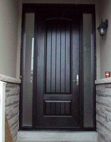 Windows and Doors Toronto-Rustic Doors-Fiberglass Rustic Doors-Rustic Doors 8-Foot-FiberglasSigle-Solid-Door-with-2-frosted-Side-Lites-Installed by Windows and Doors Toronto-in-Newmarket-Ontario