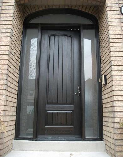Windows and Doors Toronto-Rustic Doors-Fiberglass Rustic Doors-8 Foot-Single-Solid-Front-Door-with-2-Frosted-Side-Lite-Panel-&-Matching-Art-Transom installed by Windows and Doors Toronto