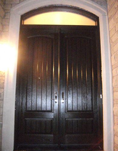 Windows and Dooors Toronto-Rustic Doors-Fiberglass Rustic Doors-Rustic Doors After Installation Fiberglass Rustic Double Doors with Arch Transom Installed by Windows and Doors Toronto