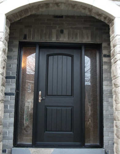 Windows and Dooors Toronto-Rustic Doors-Fiberglass Rustic Doors-Rustic Doors After Installation – Fiberglass Rustic Single Exterior Door with 2 Side Lites Installed by Windows and Doors Toronto