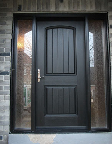 Windows and Dooors Toronto-Rustic Doors-Fiberglass Rustic Doors-Fiberglass Rustic Single Exterior Door with 2 Side Lites installed in Woodbridge Installed by Windows and Doors Toronto