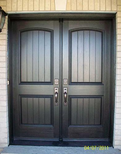 Windows and Doors Toronto-Rustic Doors-Fiberglass Rustic Doors-Rustic Door Double Fiberglass Woodgrain  Installed by Windows and Doors Toronto in Brampton