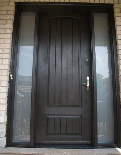 Windows and Doors Toronto-Rustic Doors-Fiberglass Rustic Doors-Rustic Doors Single Solid Door With & 2 Frosted Side Lites Installed by Windows and Doors Toronto in Markham